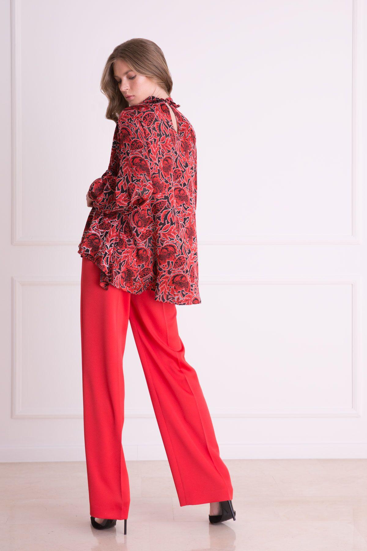 Bol Paça Kırmızı Kumaş Pantolon