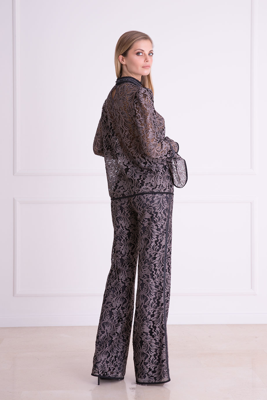 Bol Paça Siyah Güpür Kumaş Pantolon