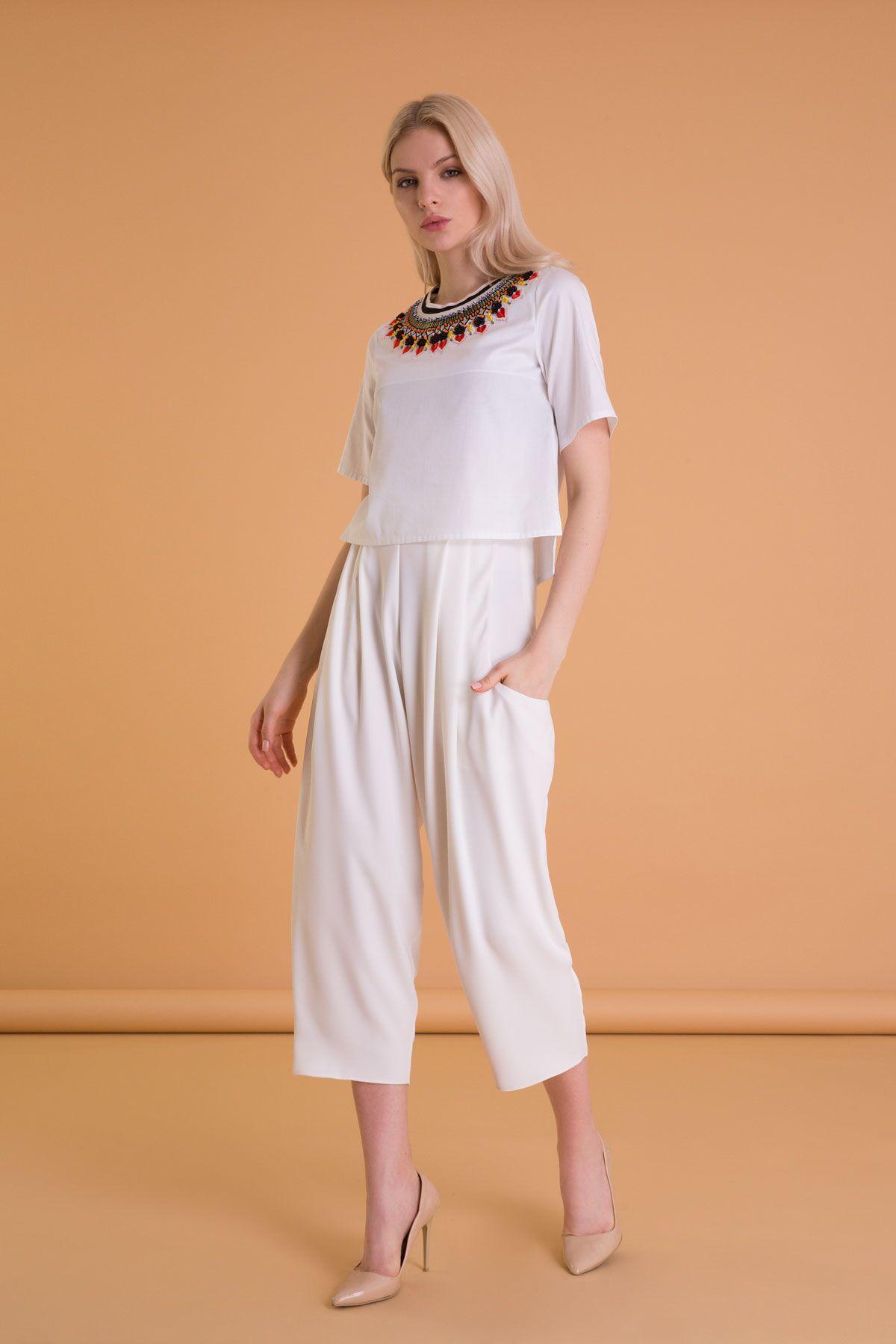 Bordür Nakış Detaylı Beyaz Poplin Bluz