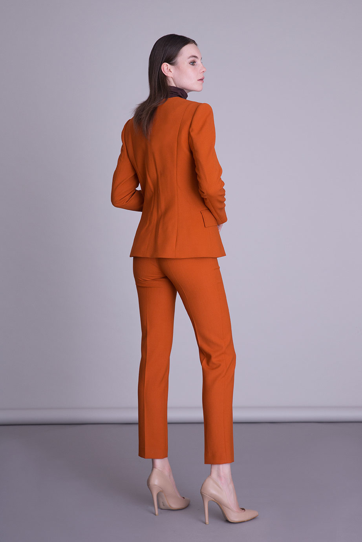 Boru Paça Turuncu Kumaş Pantolon