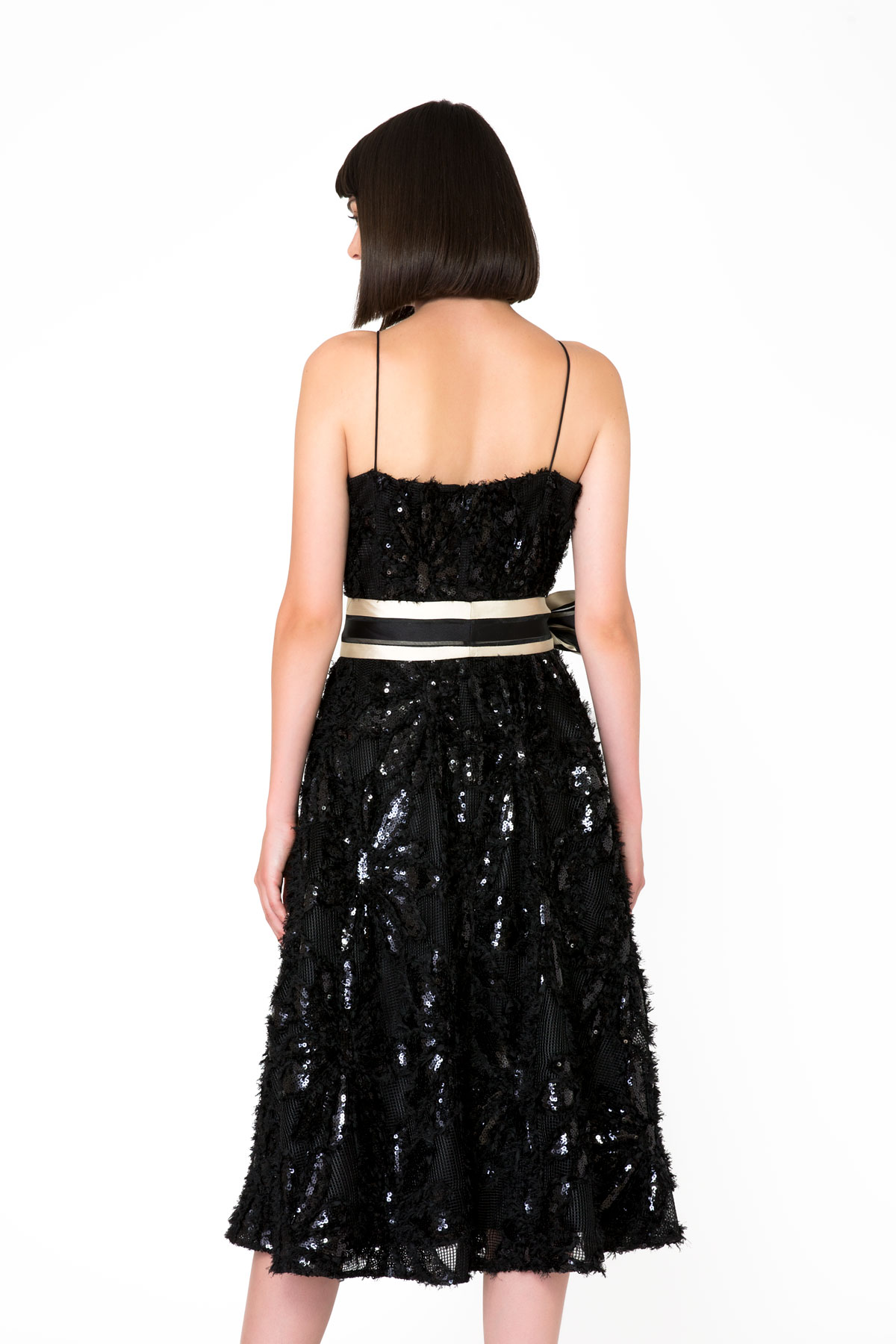 Bow Detailed Thin Strap Black Midi Dress
