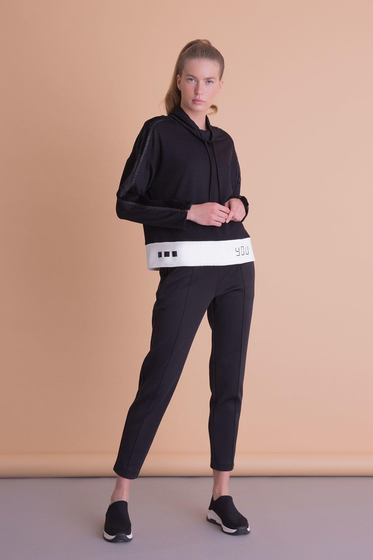Boyun Bağcıklı Siyah Spor Sweatshirt