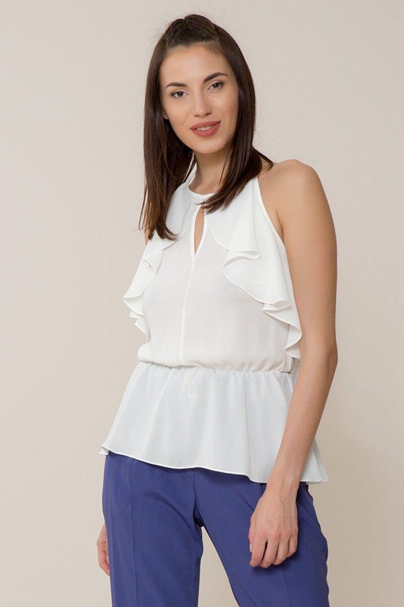 Boyundan Bağlamalı Beyaz Bluz
