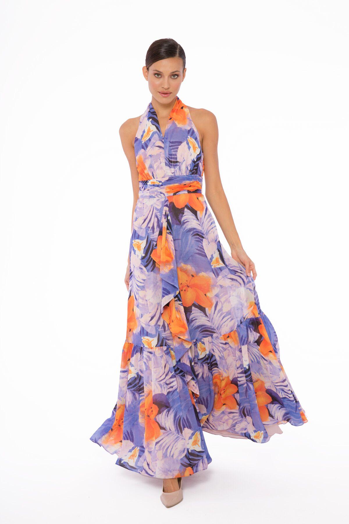 Çiçek Desenli Uzun Şifon Elbise