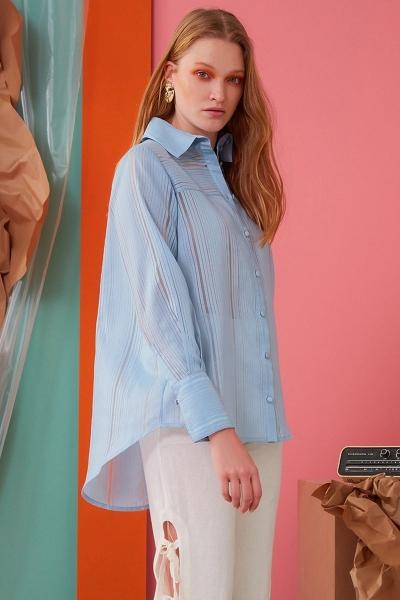 GIZIA CASUAL - Çizgi Detaylı Mavi Gömlek