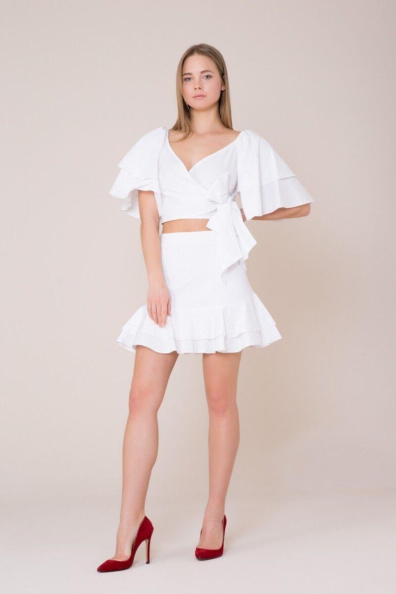 GIZIA CASUAL - V Yaka Kuşak Detaylı Beyaz Bluz