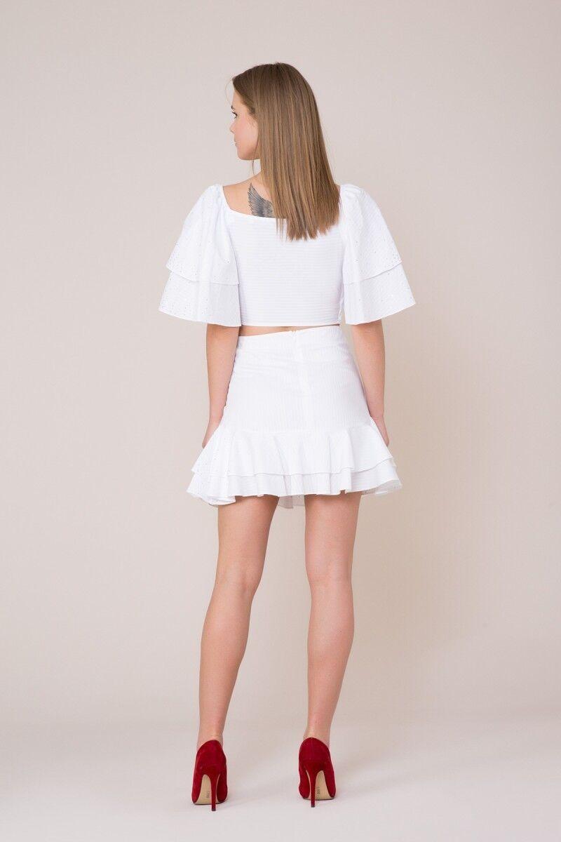 V Yaka Kuşak Detaylı Beyaz Bluz
