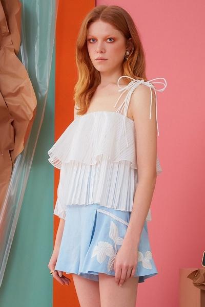 GIZIA CASUAL - İp Askılı Pileli Beyaz Bluz