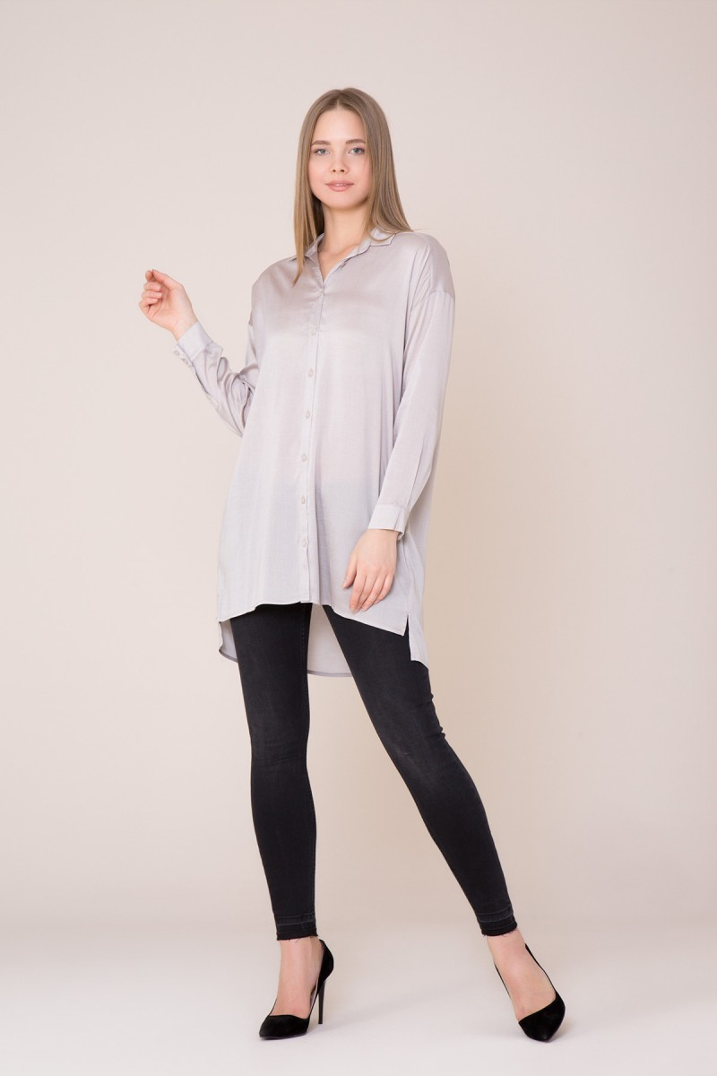 Uzun Kollu Bej Gömlek
