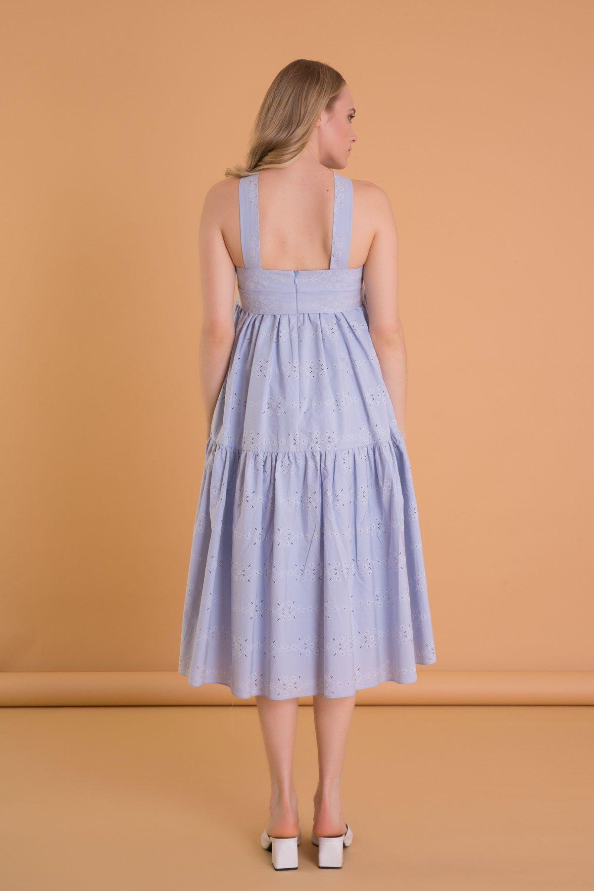 Brode Detaylı A Form Askılı Uzun Elbise