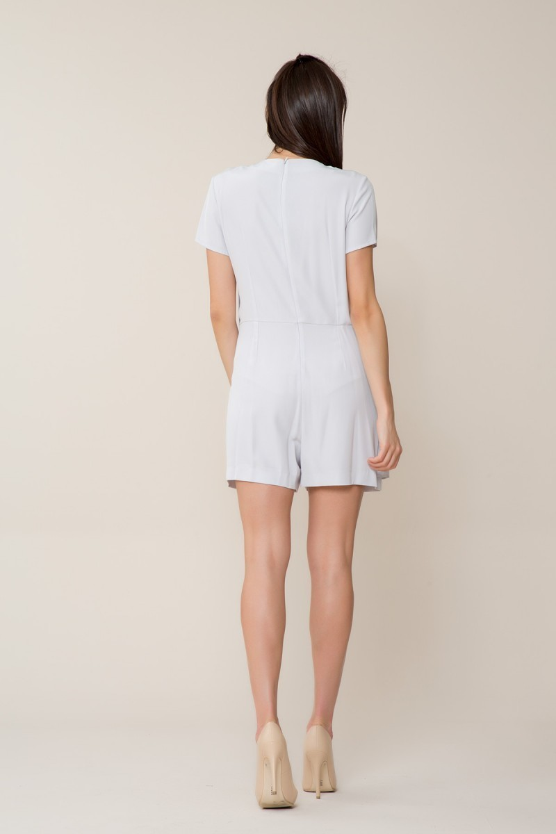 Brooch Detailed Shorts Overalls