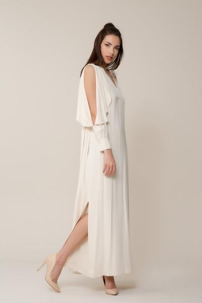 GIZIA - Broş Detaylı Uzun Elbise