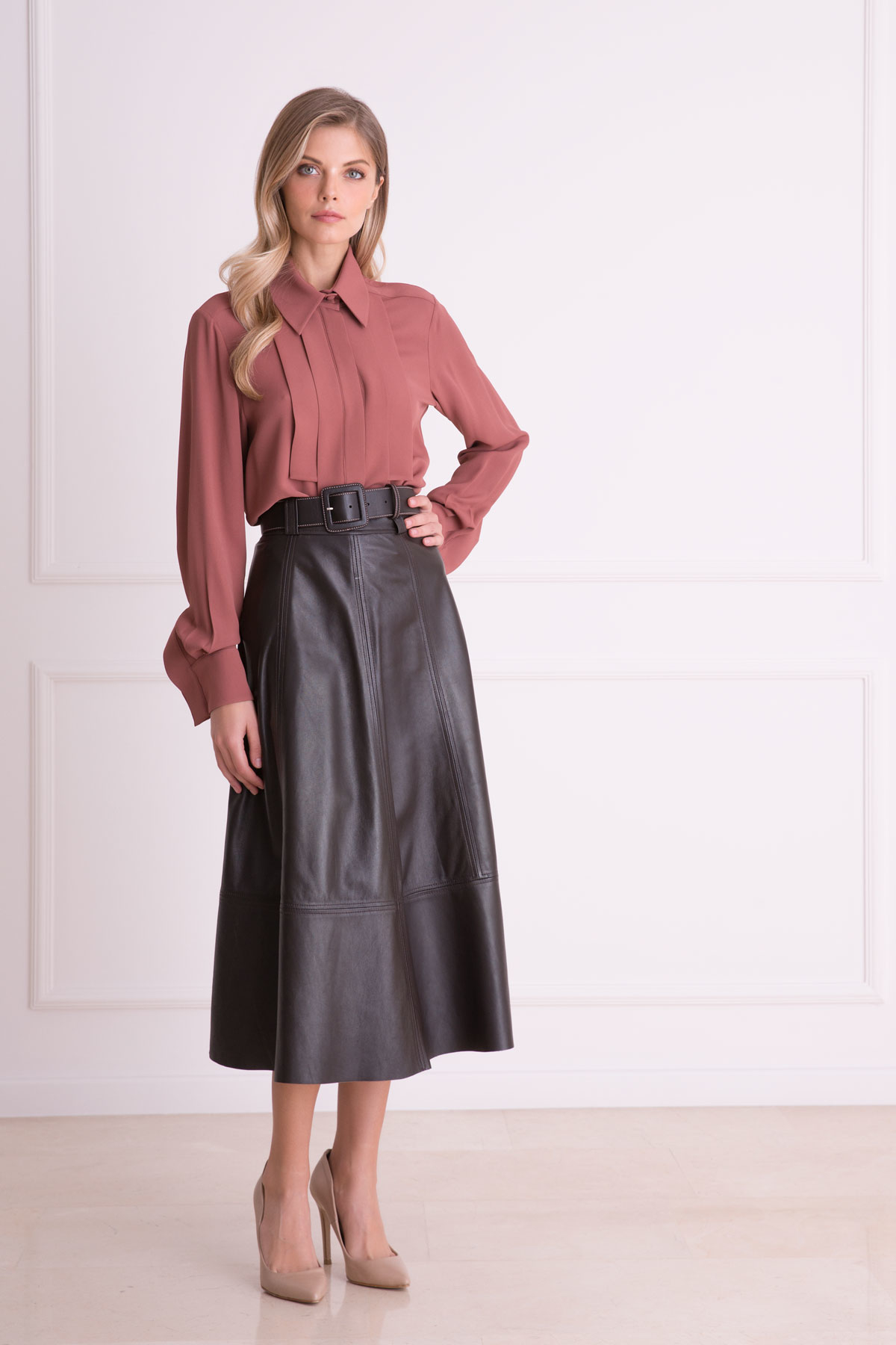 Belted Brown Leather Skirt