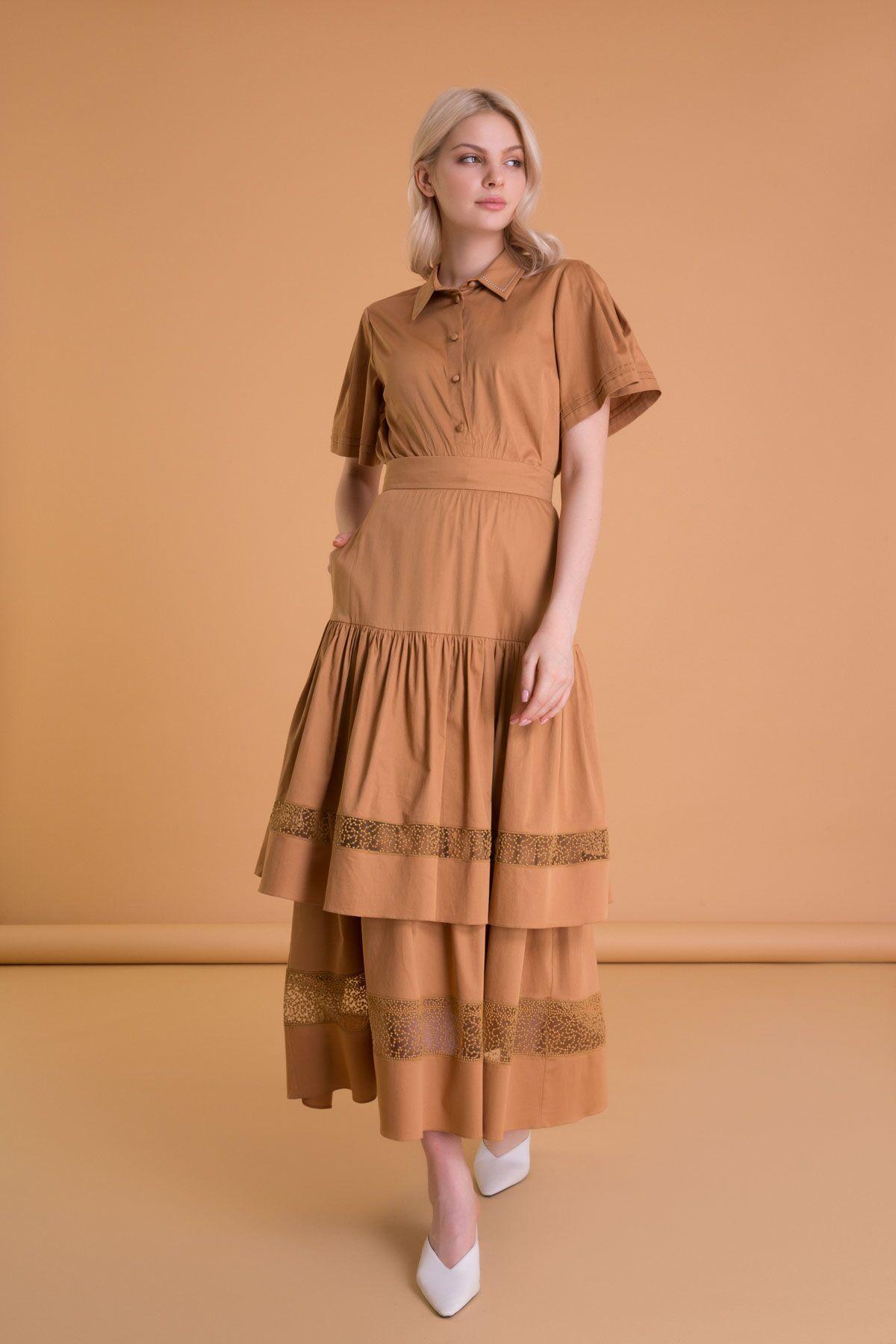 Brown Long Poplin Skirt