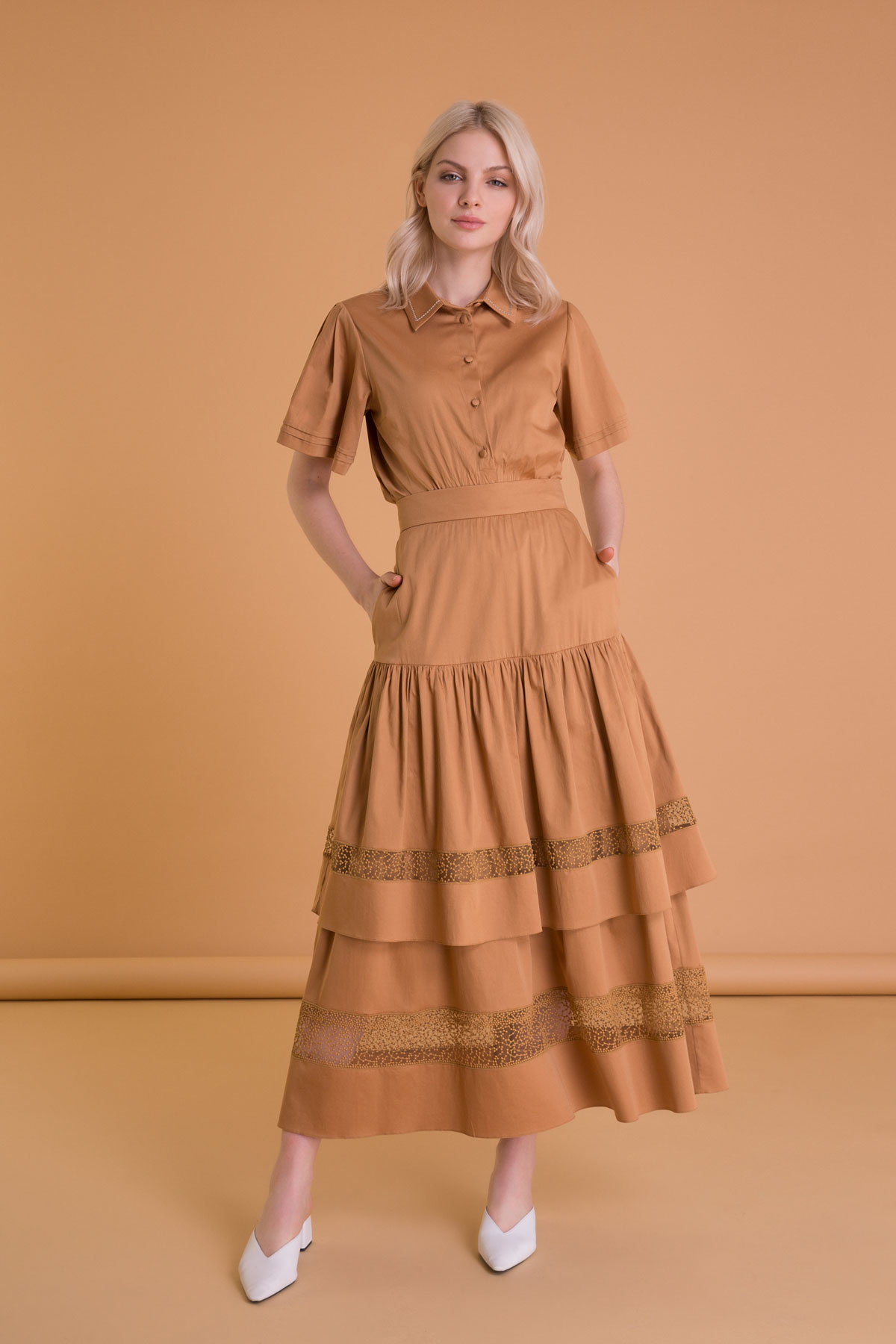 Brown Long Poplin Skirt