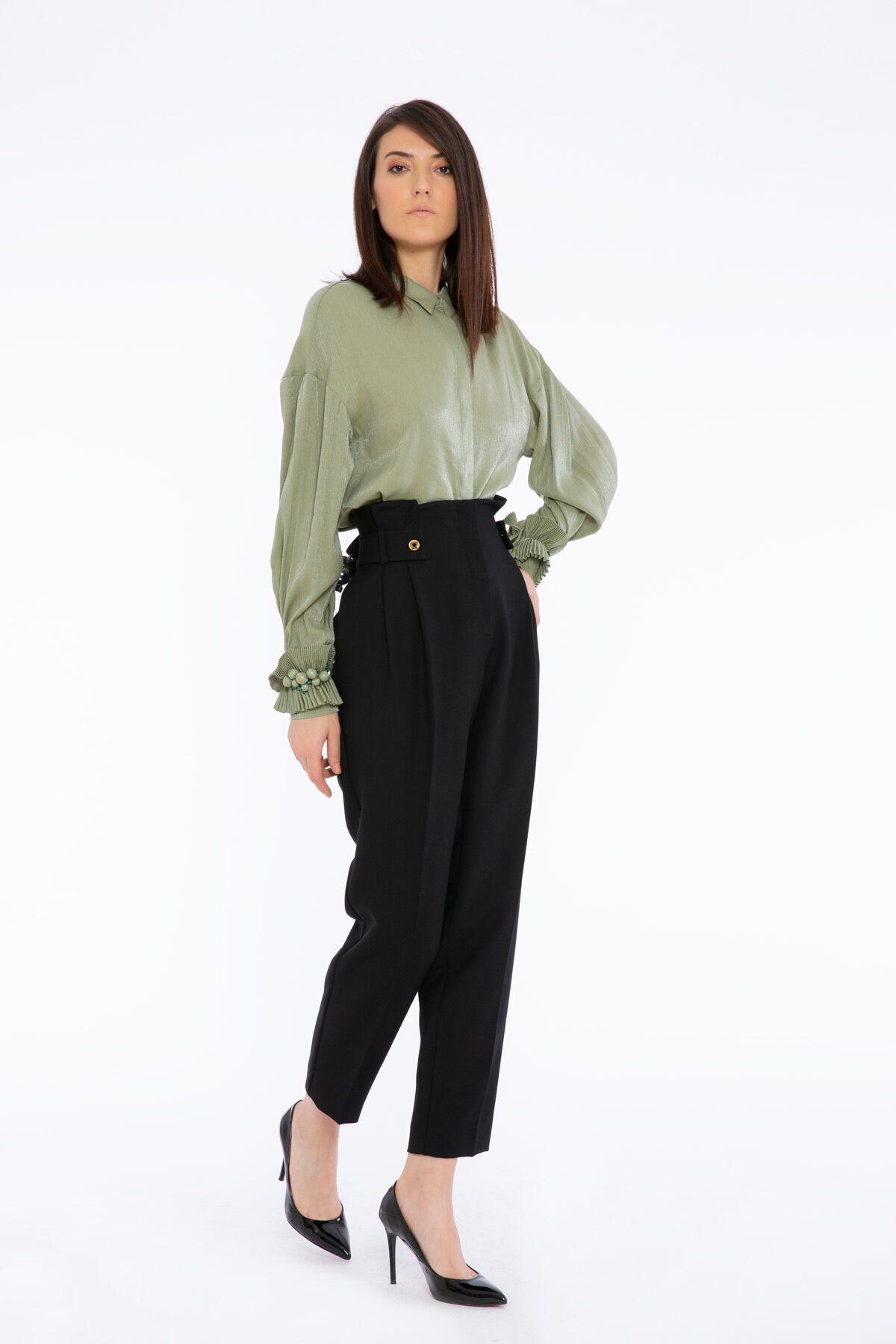 Button Detailed High Waist Black Trousers