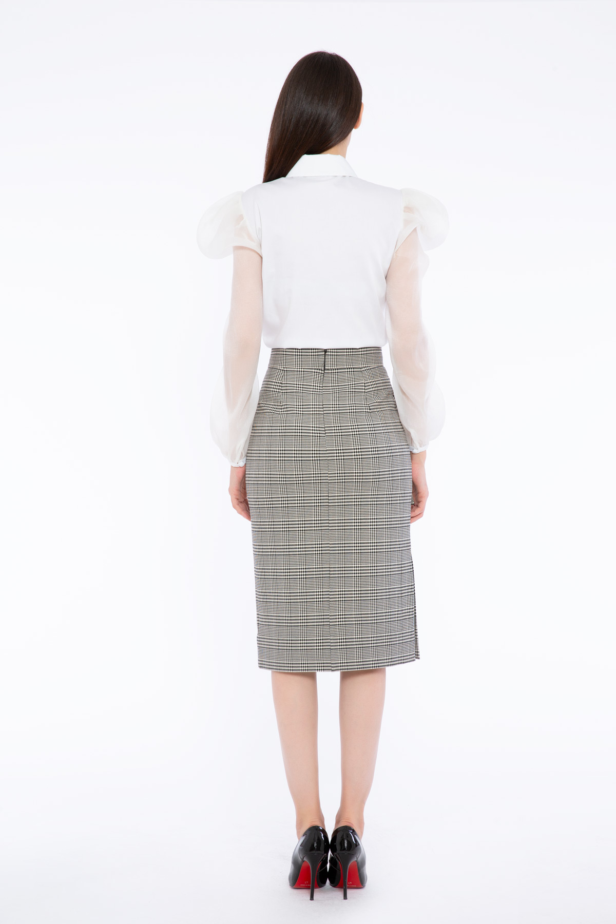 Button Detailed Plaid Patterned Midi Skirt