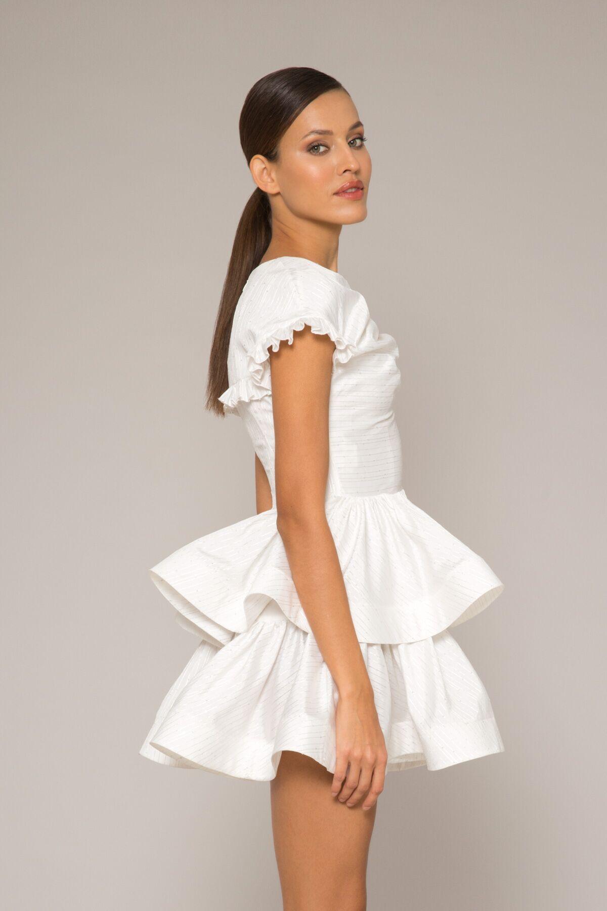 Büzgülü Hacimli Mini Elbise