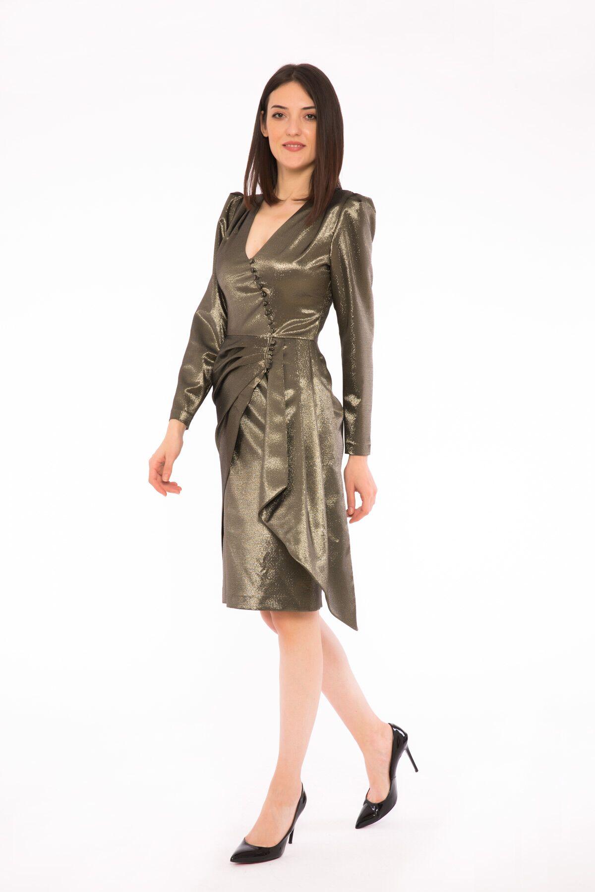 Büzgülü Kollu V Yaka Volanlı Elbise