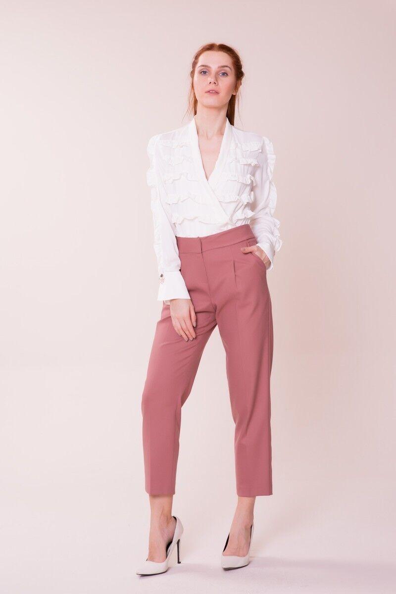 GIZIA CASUAL - V Yaka Detaylı Beyaz Bluz