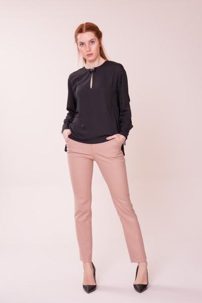 GIZIA CASUAL - Yaka Detaylı Siyah Bluz