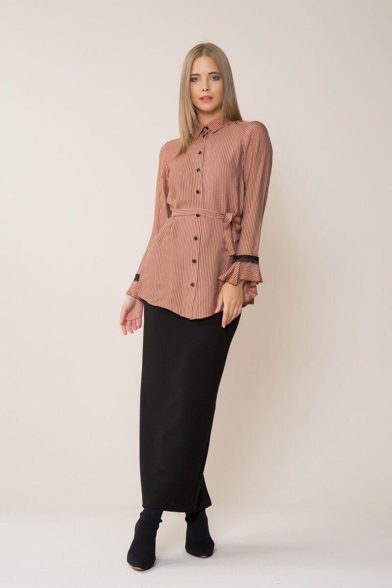 GIZIA CASUAL - Siyah Şerit Detaylı Gömlek