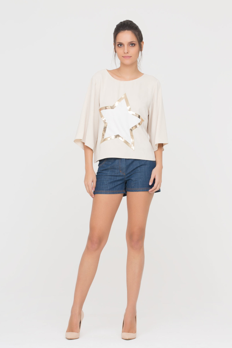 GIZIA CASUAL - Beige Blouse With Embellished Star