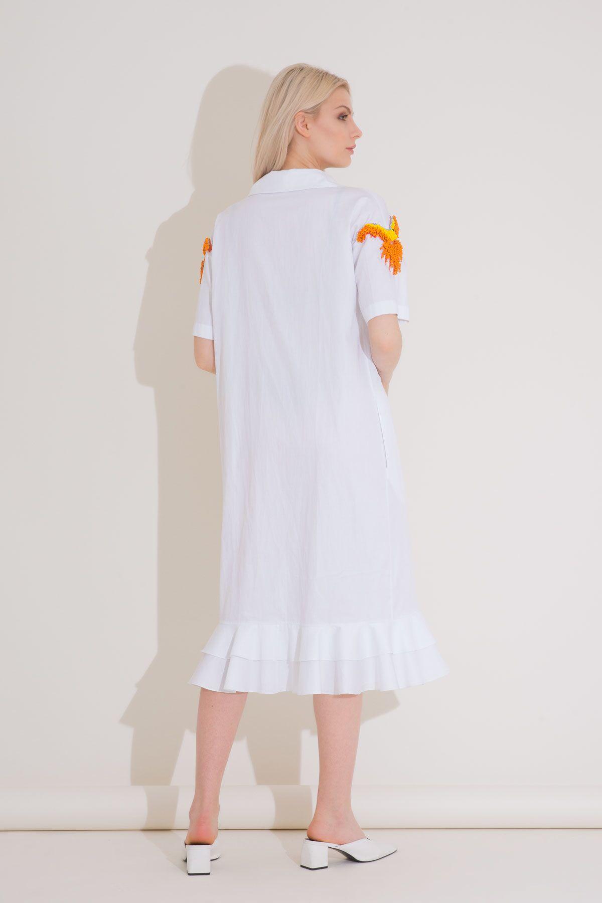 Ceket Yakalı Nakışlı Kruvaze Beyaz Elbise