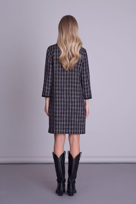 Cep Aksesuar Detaylı Siyah Tweed Elbise