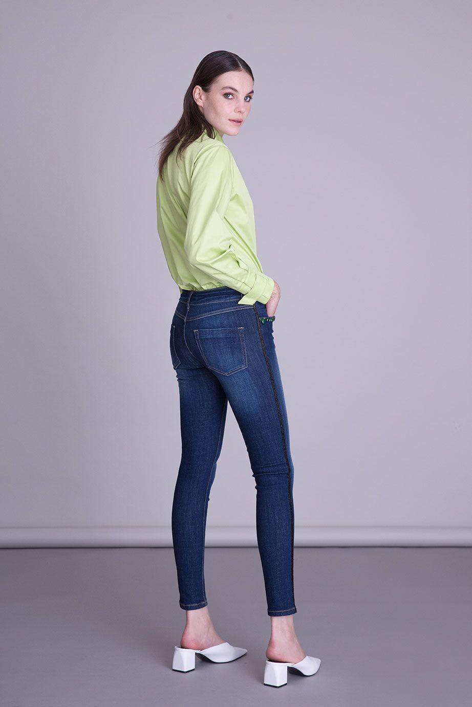 Cep İşlemeli Dar Paça Mavi Jean Pantolon