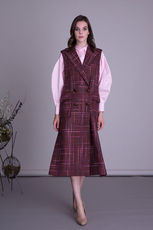 Multicolor Burgundy Vest Dress