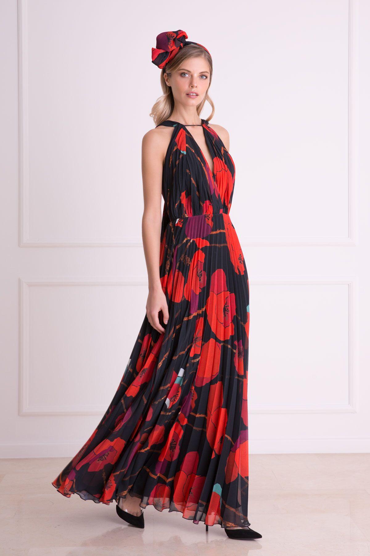 Çiçek Desenli Askılı Kırmızı Uzun Elbise