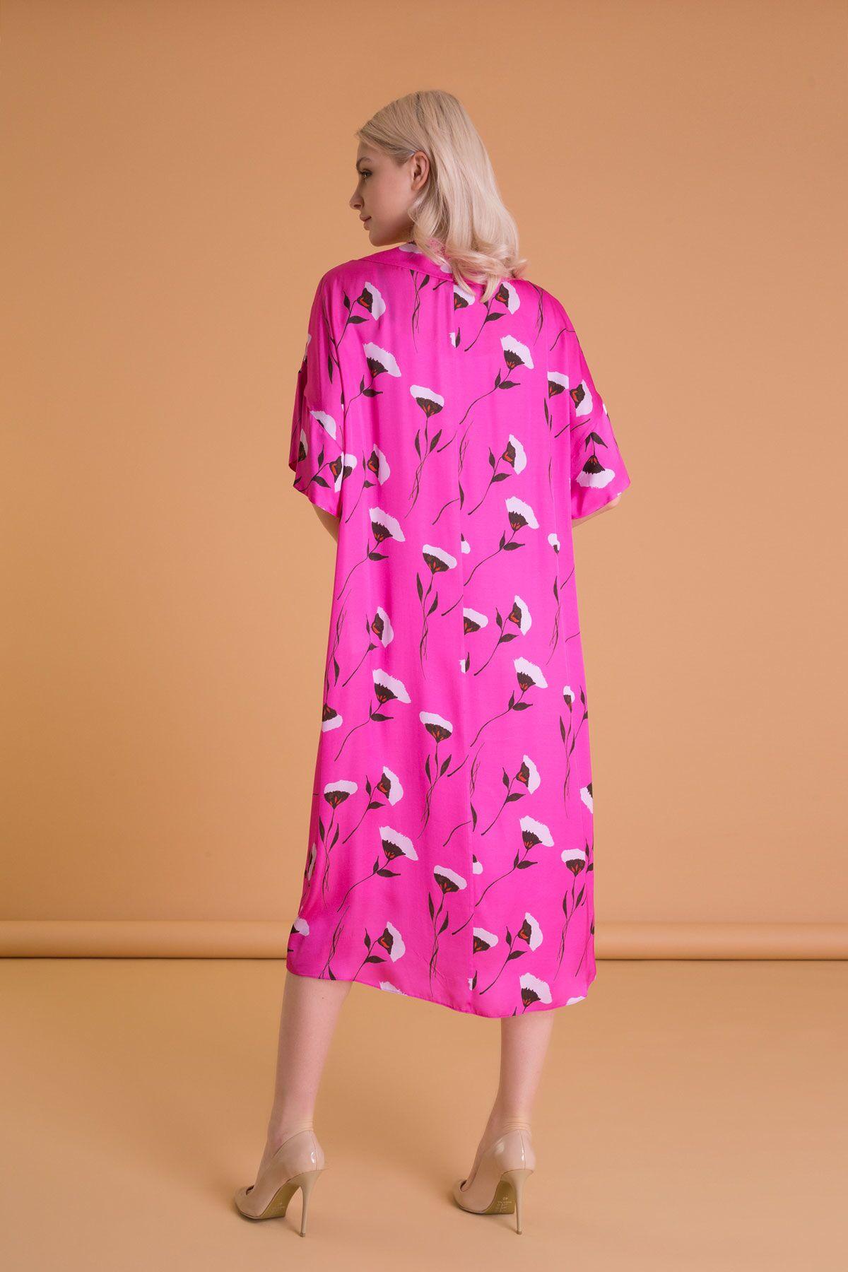 Çiçek Desenli Fuşya Uzun Tunik Elbise
