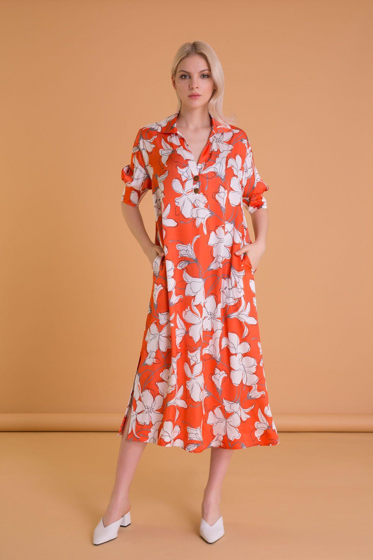 Çiçek Desenli Gömlek Yaka Turuncu Midi Elbise
