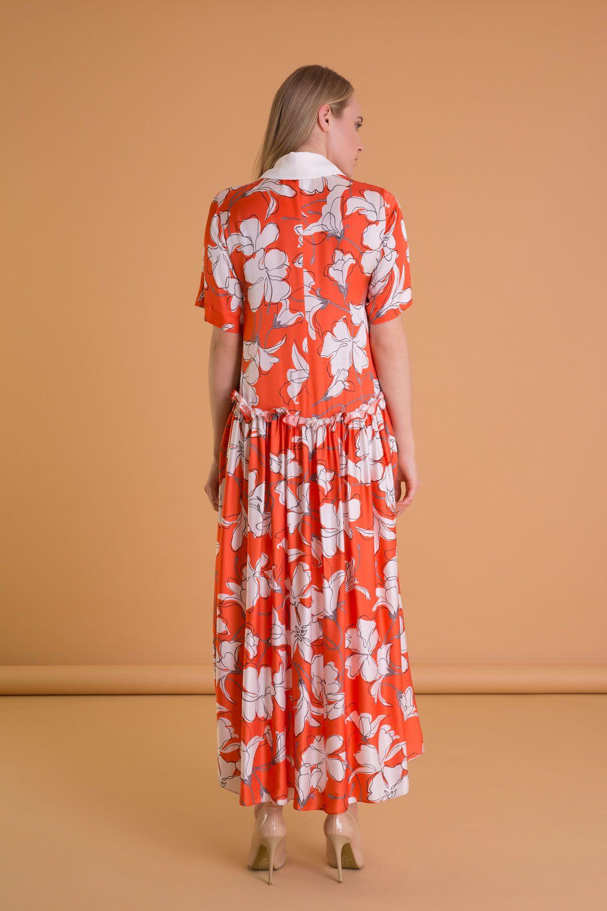 Çiçek Desenli Gömlek Yaka Turuncu Uzun Elbise