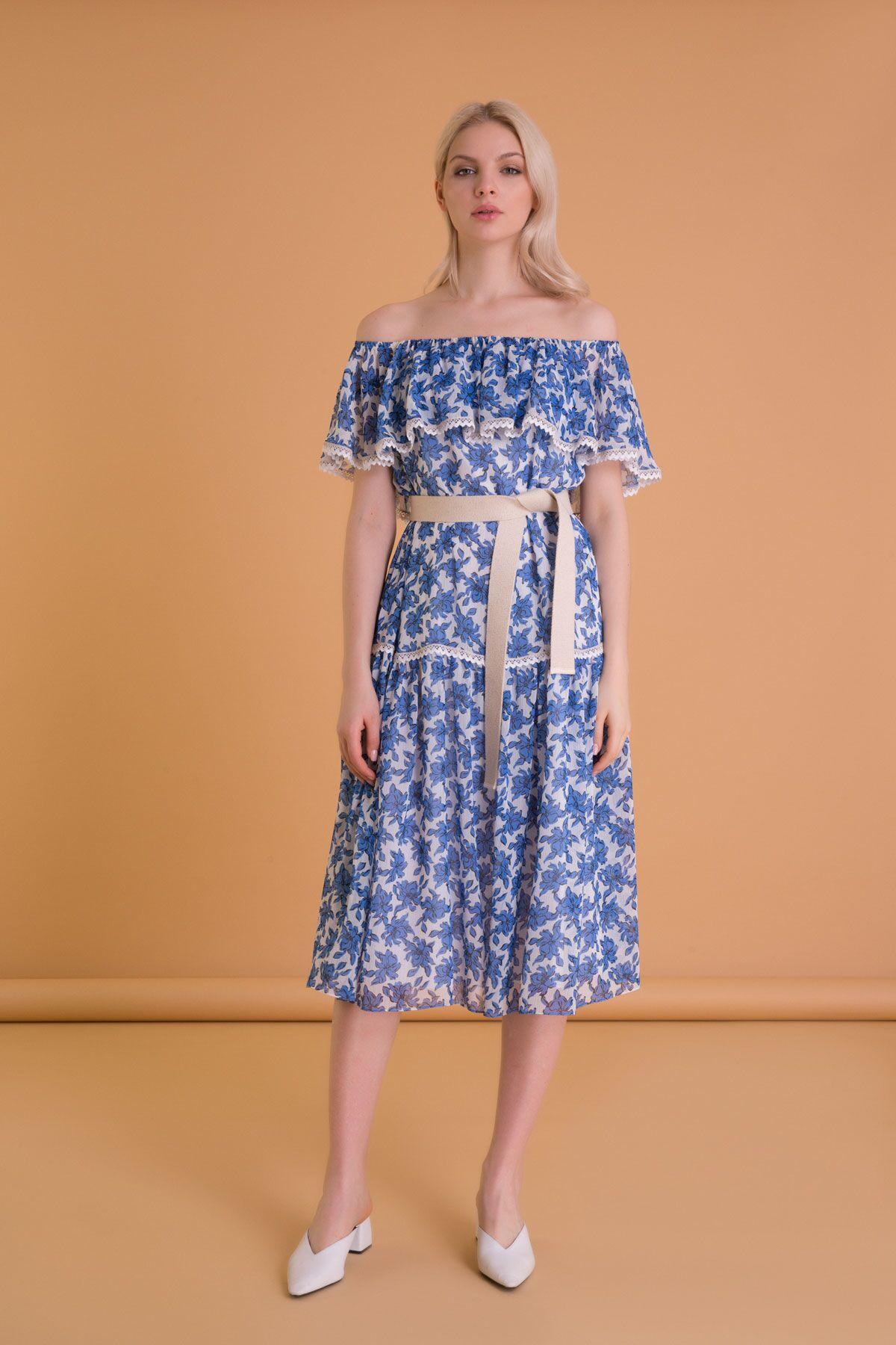 Çiçek Desenli Kemerli Mavi Midi Elbise