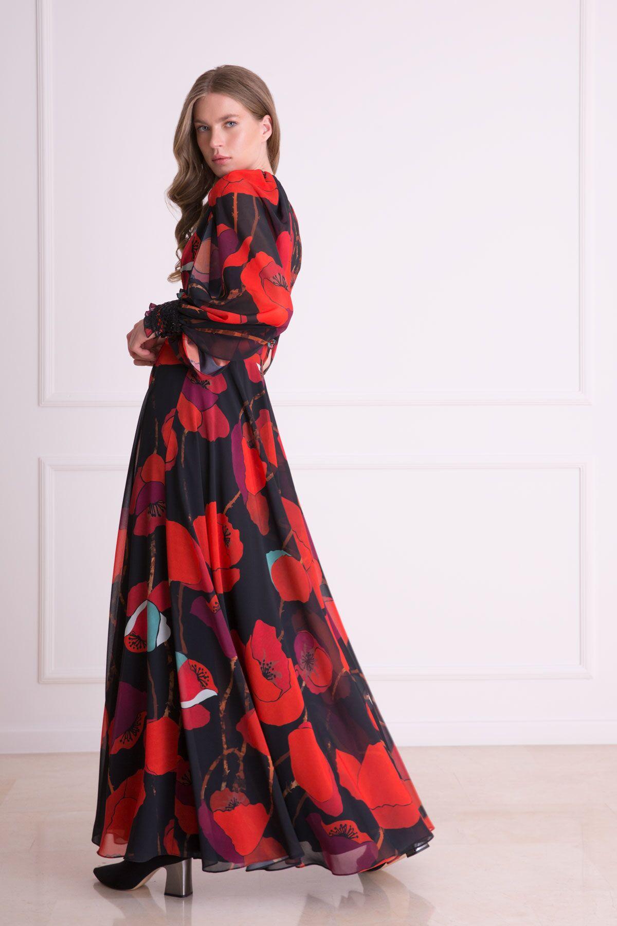 Çiçek Desenli Kırmızı Uzun Elbise