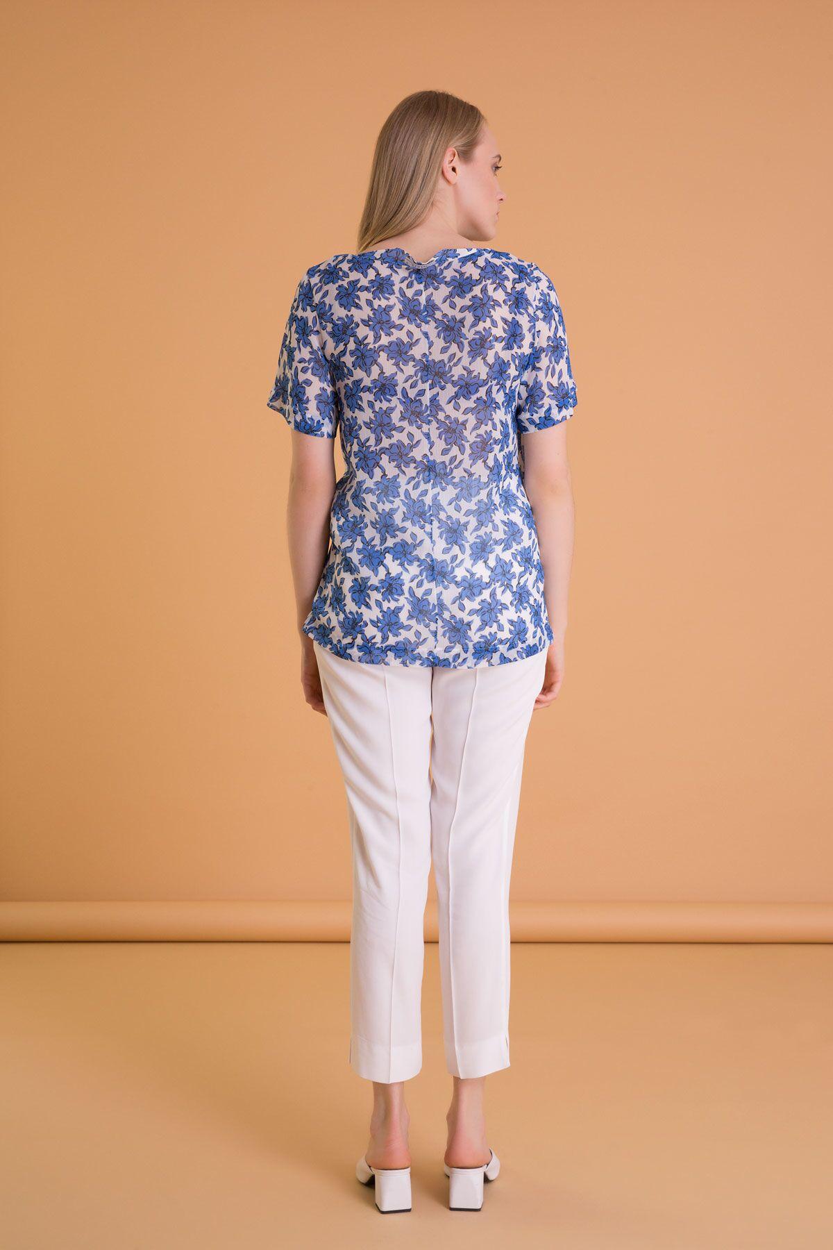 Çiçek Desenli Kısa Kollu Pileli Mavi Bluz