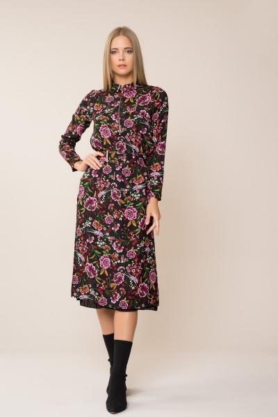 GIZIA CASUAL - Çiçek Desenli Midi Elbise
