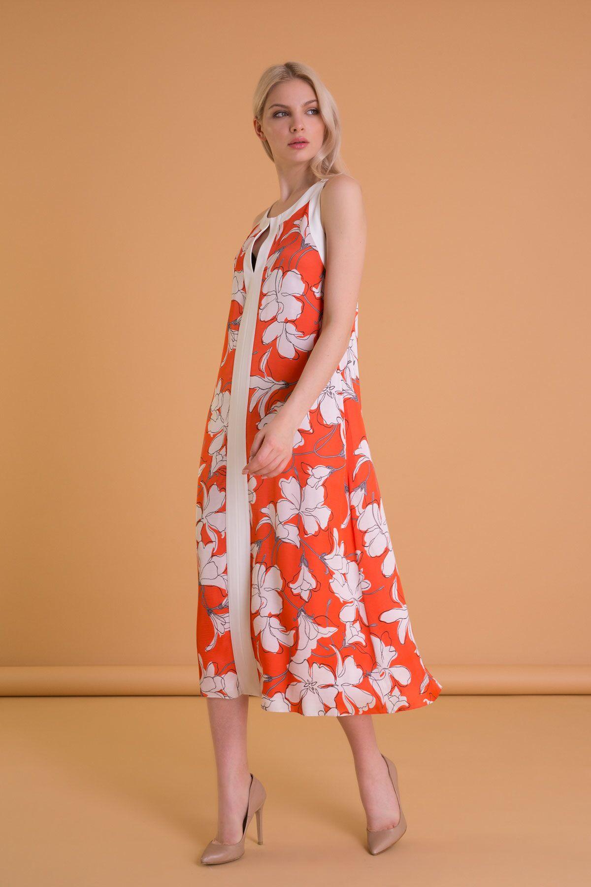 Çiçek Desenli Sırt Detaylı Turuncu Midi Elbise
