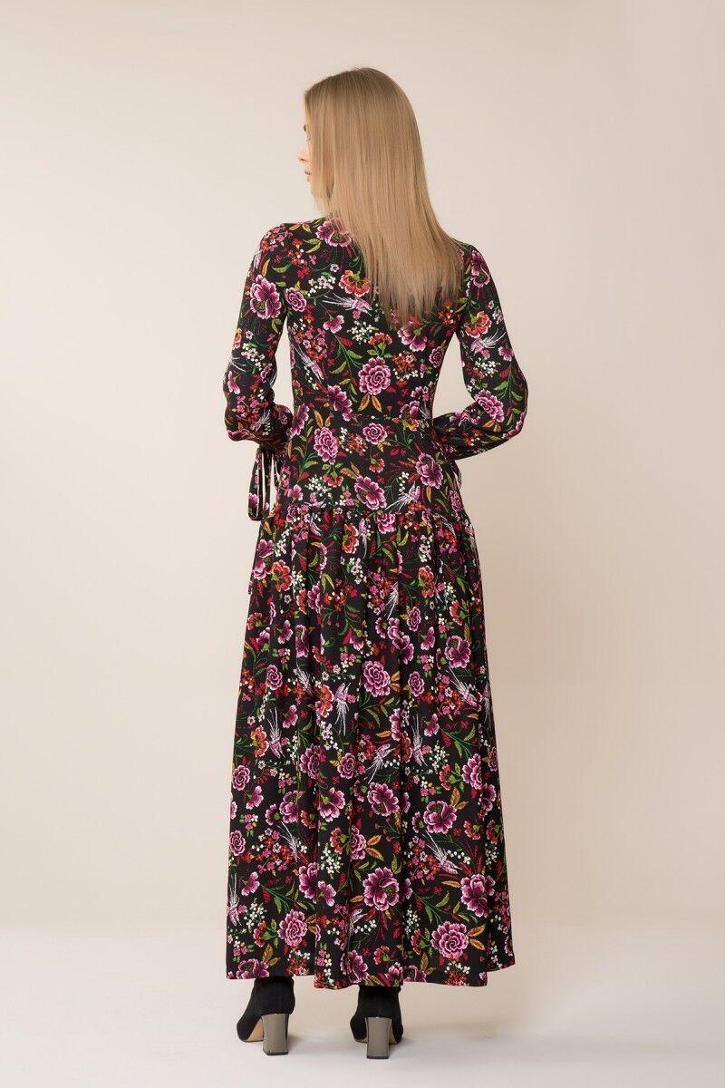 Çiçek Desenli Uzun Elbise