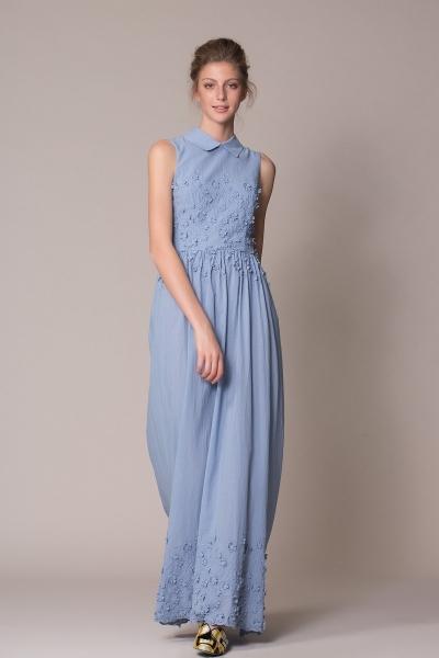 GIZIA CASUAL - Çiçek Detaylı Mavi Uzun Elbise
