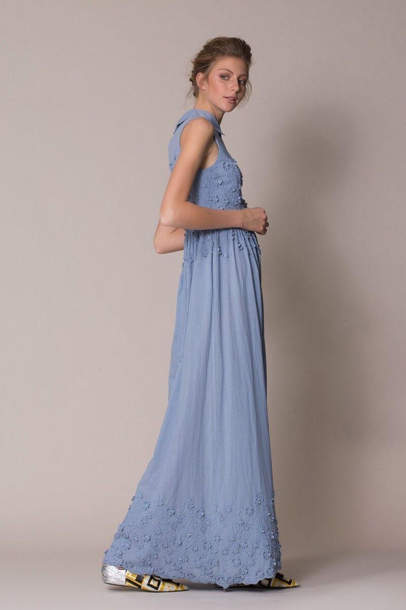 Çiçek Detaylı Mavi Uzun Elbise