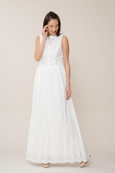 GIZIA CASUAL - Çiçek Detaylı Uzun Beyaz Elbise