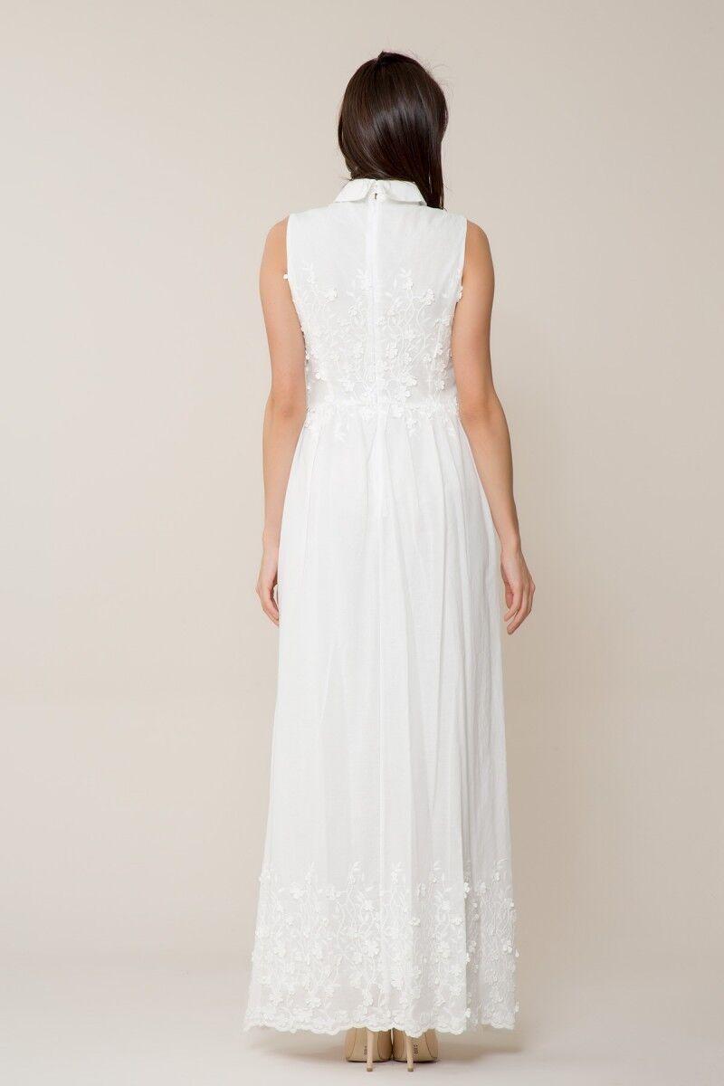 Çiçek Detaylı Uzun Beyaz Elbise