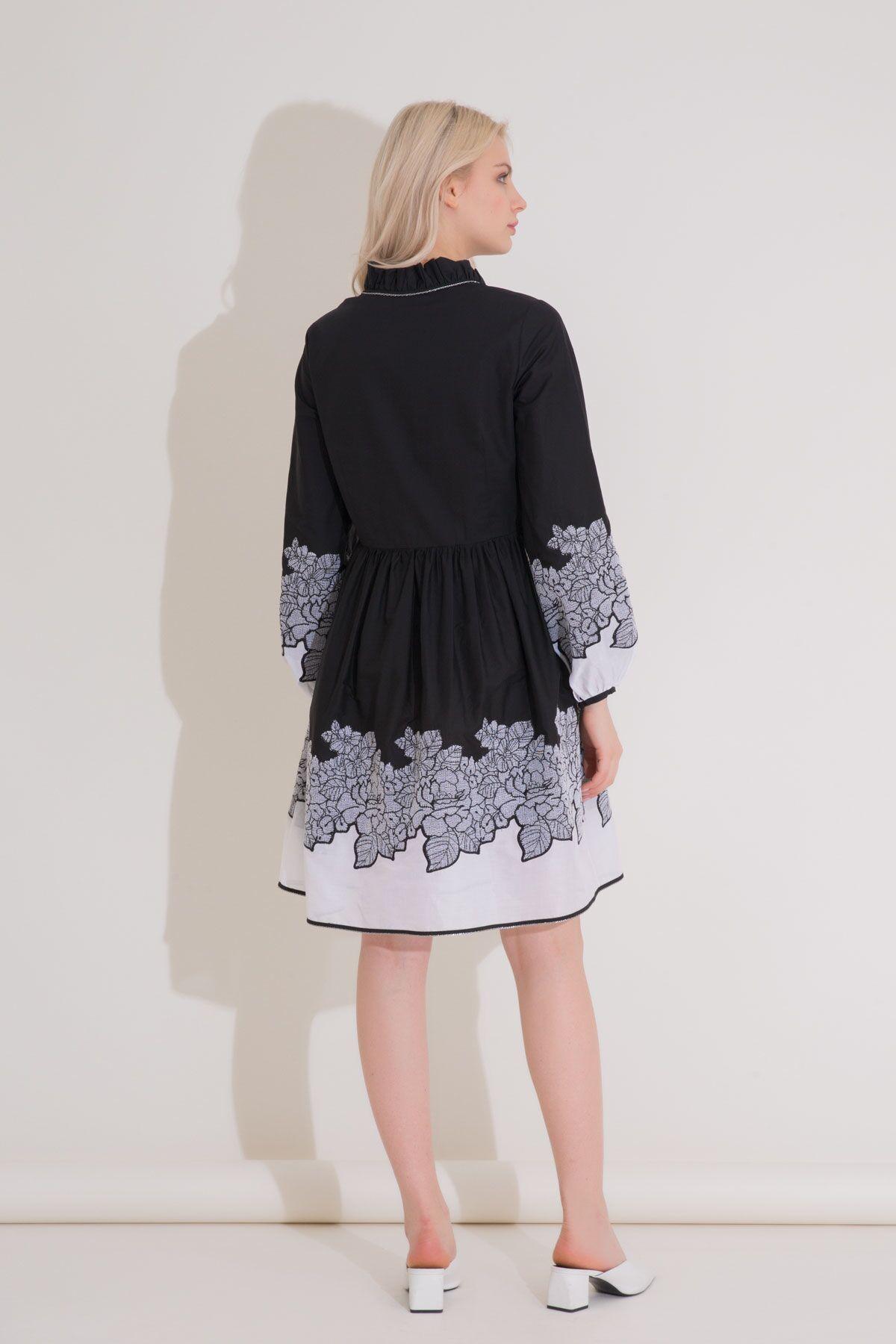 Çiçek Nakış Detaylı Balon Kol Siyah Kısa Elbise