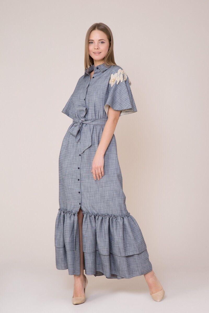 Çiçek Nakış Detaylı Lacivert Elbise
