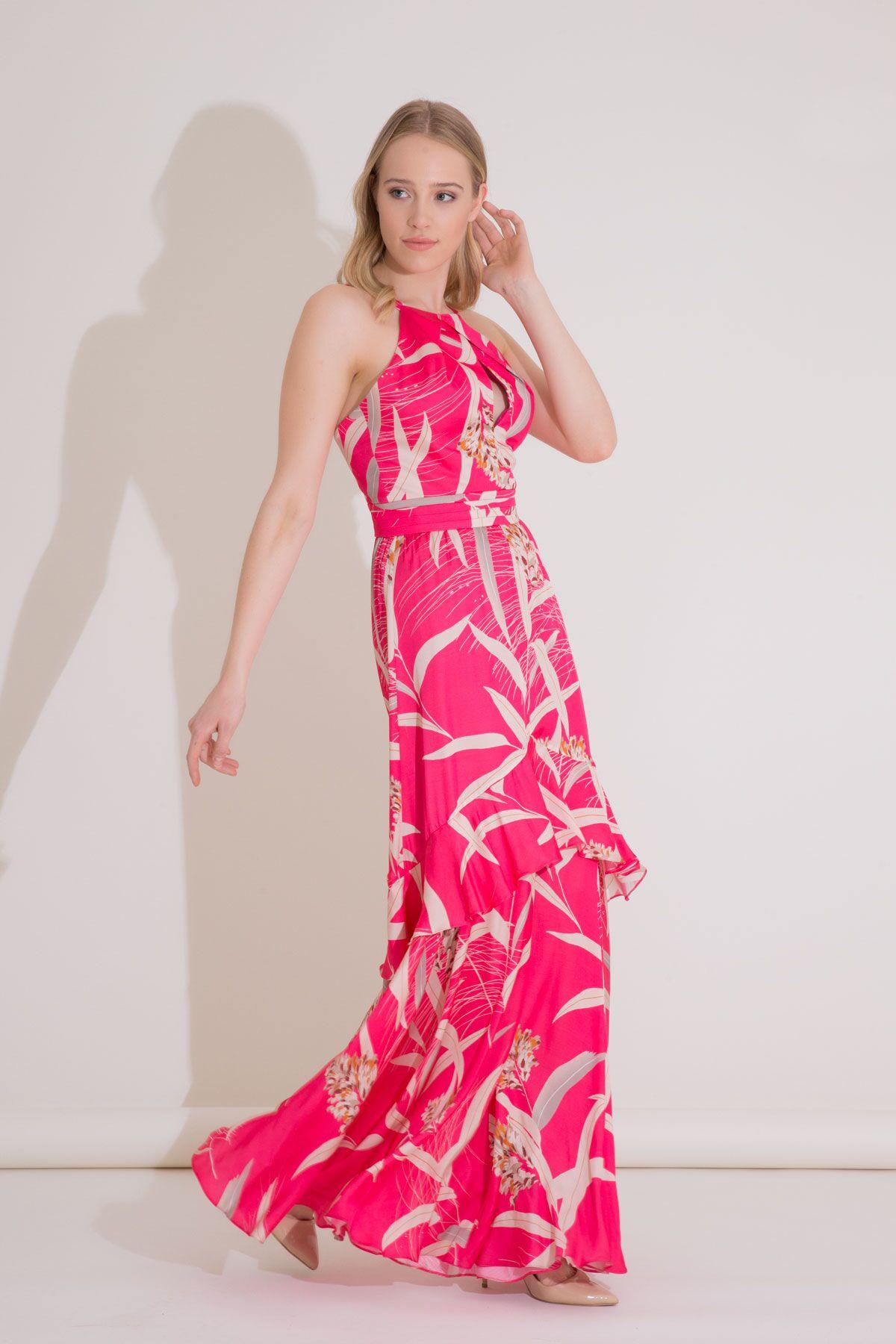 Çiçek Yaprak Desenli Uzun Pembe Vıskon Elbise