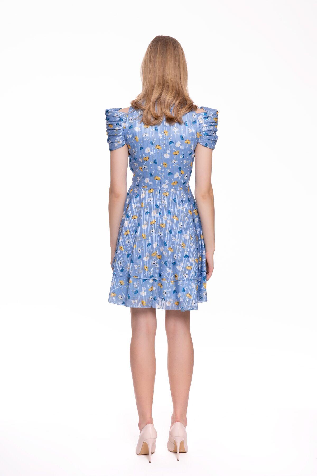Çiçek Baskılı, Omuz Detaylı Mavi Mini Elbise