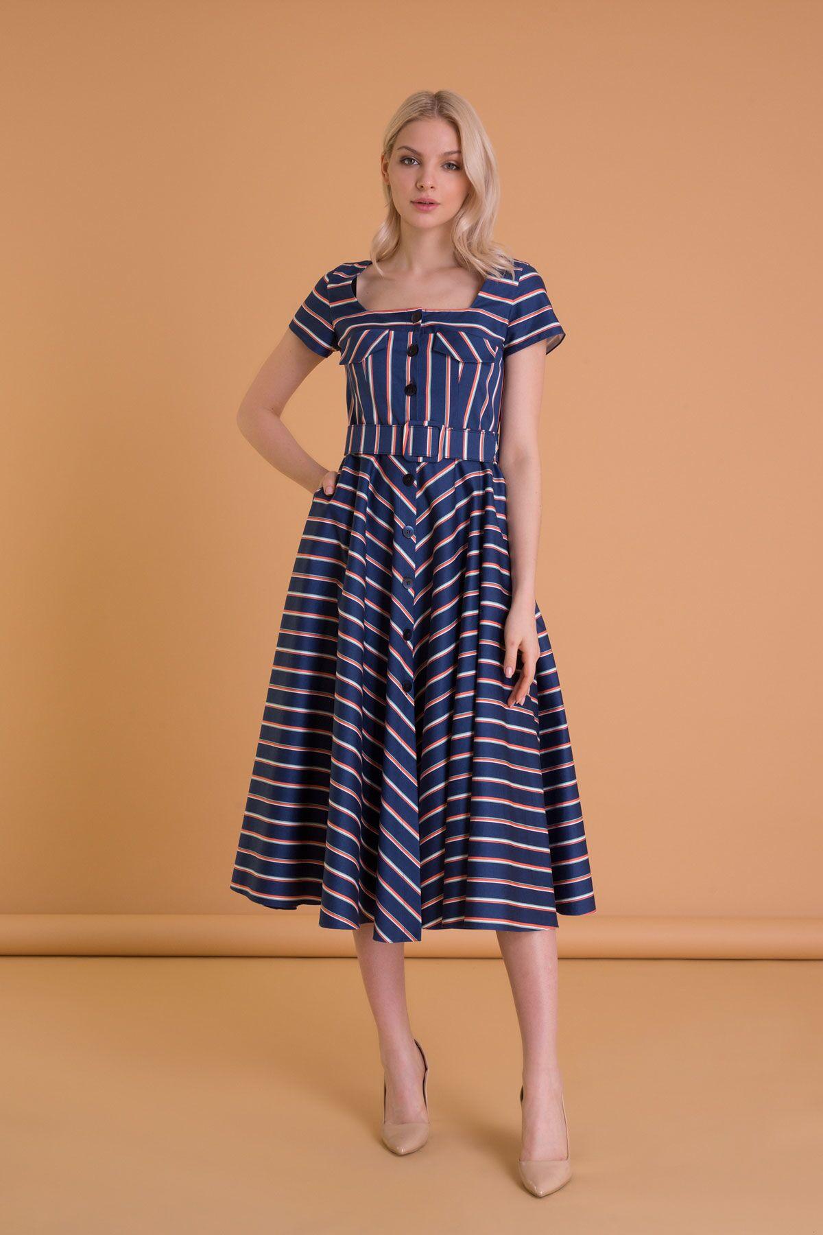 Çizgi Desenli Kare Yaka Düğmeli Lacivert Elbise